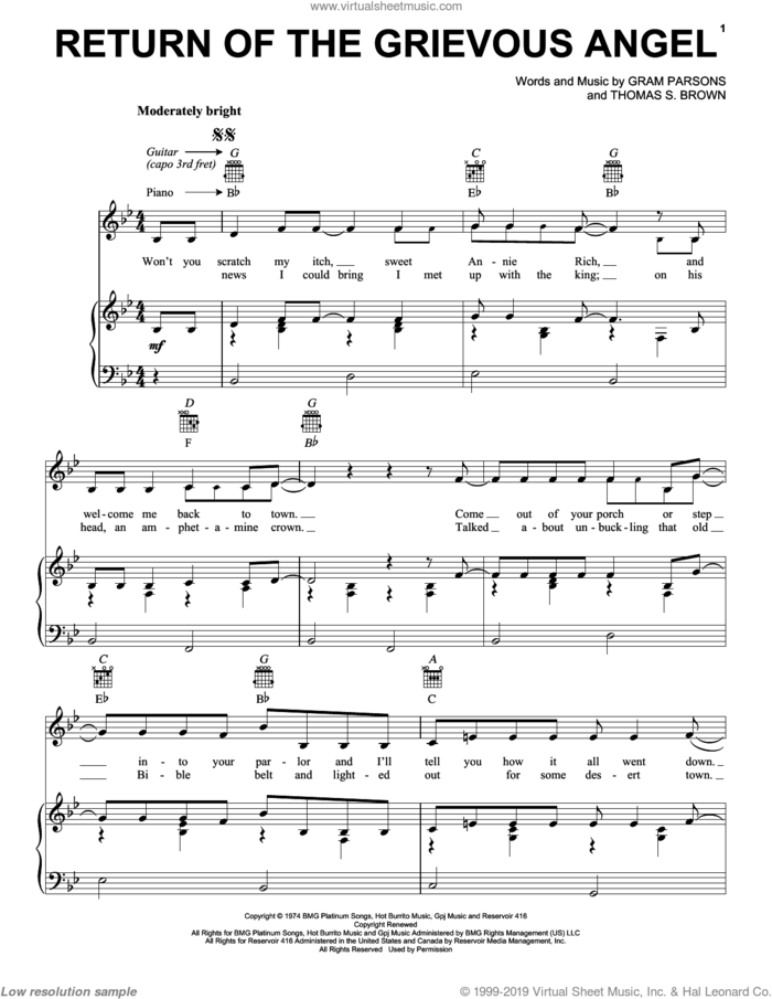 Return Of The Grievous Angel sheet music for voice, piano or guitar by Gram Parsons and Thomas S. Brown, intermediate skill level