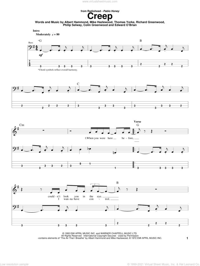 Creep sheet music for bass (tablature) (bass guitar) by Radiohead, Albert Hammond, Colin Greenwood, Jonathan Greenwood, Michael Hazlewood, Philip Selway and Thom Yorke, intermediate skill level