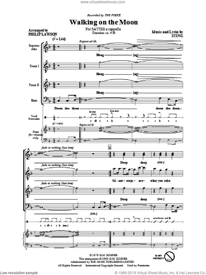 Walking On The Moon sheet music for choir (SATB: soprano, alto, tenor, bass) by Sting, Philip Lawson and The Police, intermediate skill level