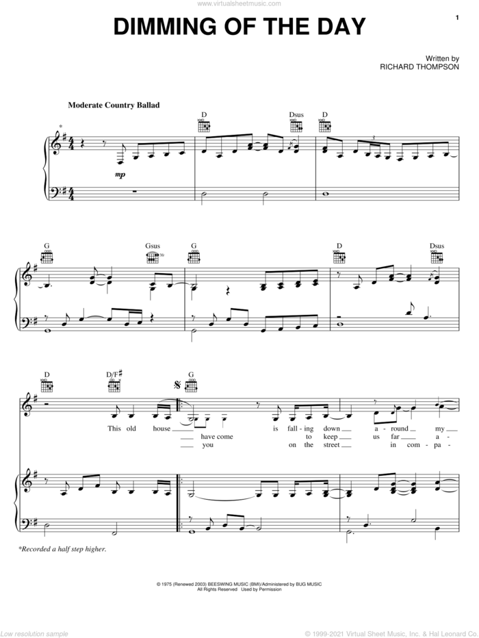 Dimming Of The Day sheet music for voice, piano or guitar by Richard Thompson and Bonnie Raitt, intermediate skill level