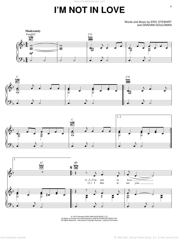 I'm Not In Love sheet music for voice, piano or guitar by 10Cc, Eric Stewart and Graham Gouldman, intermediate skill level