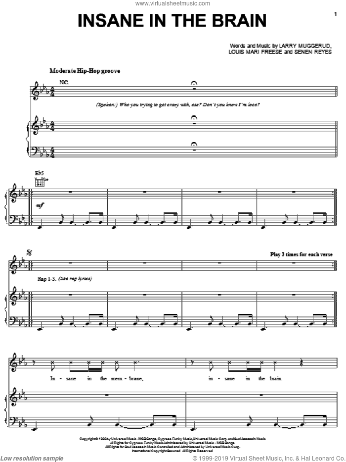 Insane In The Brain sheet music for voice, piano or guitar by Cypress Hill, Larry Muggerud, Louis Mario Freese and Senen Reyes, intermediate skill level