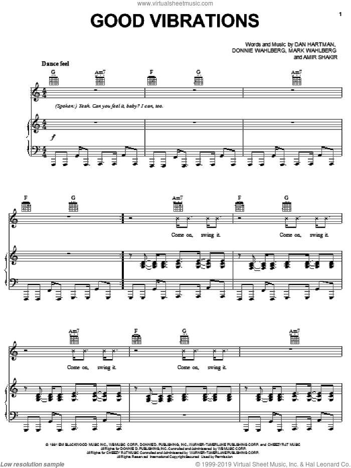 Good Vibrations sheet music for voice, piano or guitar by Marky Mark And The Funky Bunch, Amir Shakir, Dan Hartman, Donnie Wahlberg and Mark Wahlberg, intermediate skill level