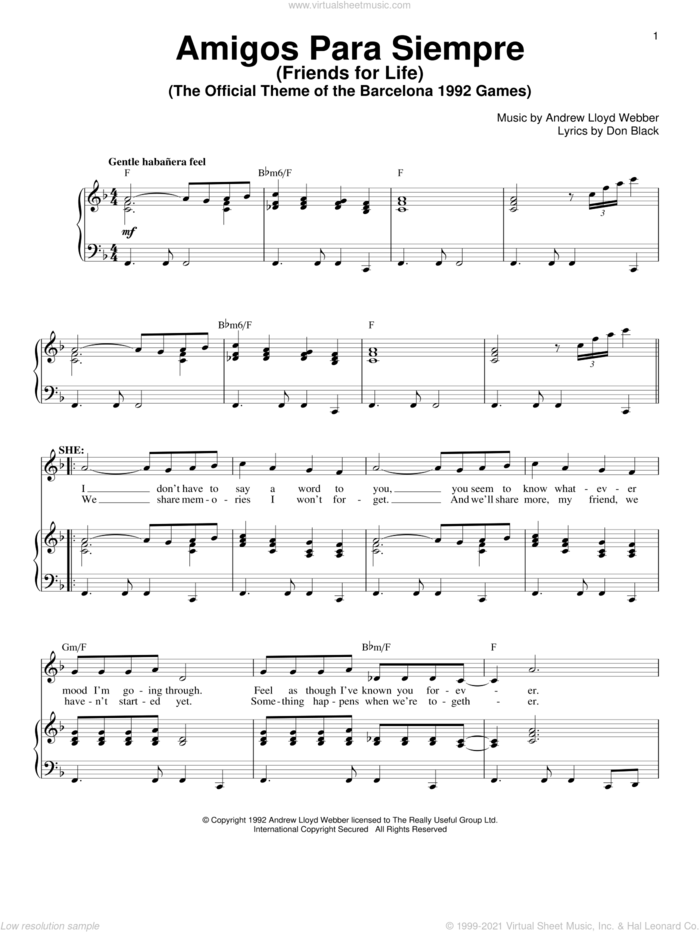 Amigos Para Siempre (Friends For Life) sheet music for voice and piano by Andrew Lloyd Webber and Don Black, intermediate skill level