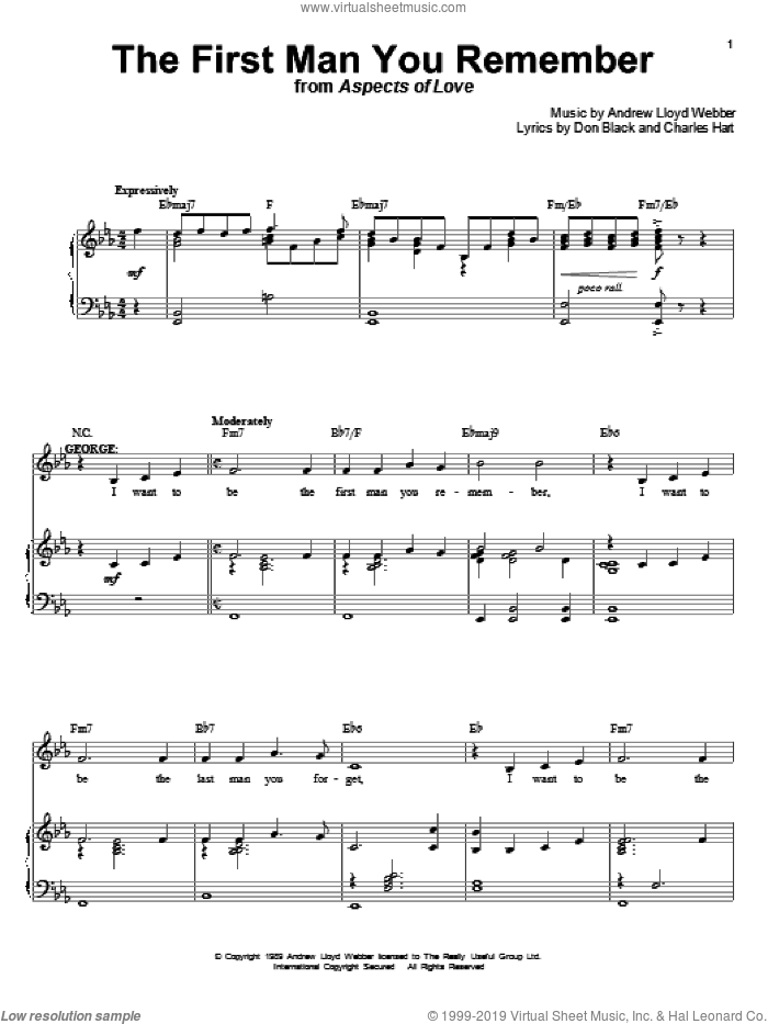 The First Man You Remember sheet music for voice and piano by Andrew Lloyd Webber, Aspects Of Love (Musical), Charles Hart and Don Black, intermediate skill level