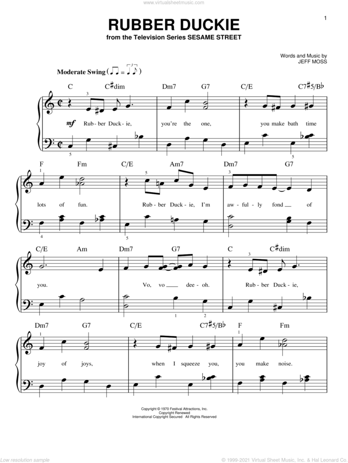 Rubber Duckie sheet music for piano solo by Jeff Moss and The Muppets, easy skill level
