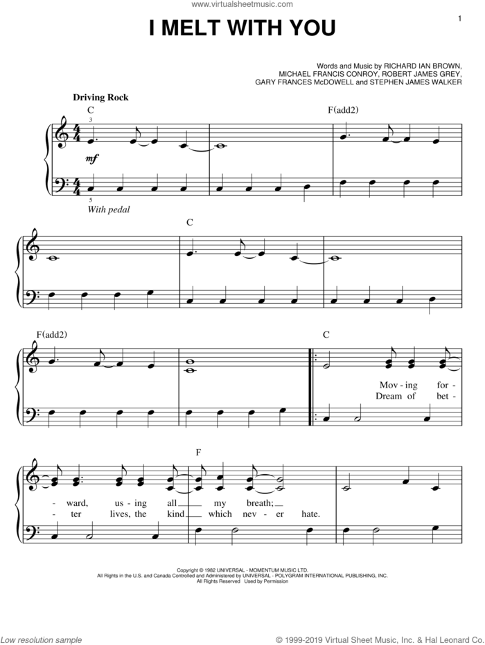 I Melt With You sheet music for piano solo by Modern English, Gary Frances McDowell, Michael Francis Conroy, Richard Ian Brown, Robert James Grey and Stephen James Walker, easy skill level