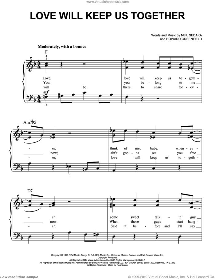 Love Will Keep Us Together sheet music for piano solo by Captain & Tennille, Howard Greenfield and Neil Sedaka, easy skill level