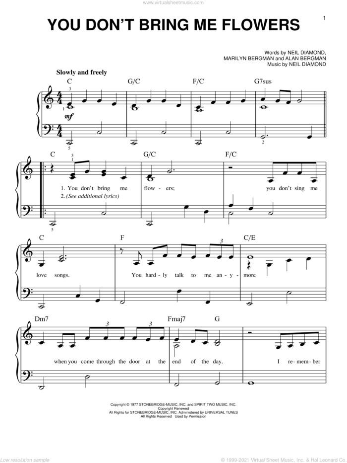 You Don't Bring Me Flowers sheet music for piano solo by Neil Diamond & Barbra Streisand, Barbra Streisand, Alan Bergman, Marilyn Bergman and Neil Diamond, easy skill level