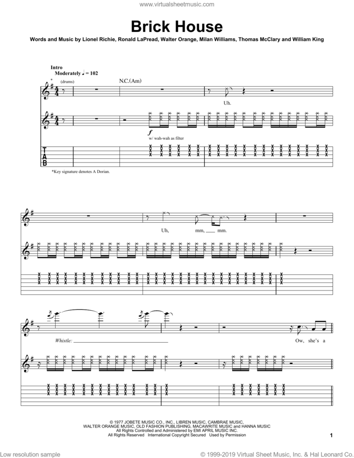 Brick House sheet music for guitar (tablature, play-along) by The Commodores, Lionel Richie, Ronald LaPread and Walter Orange, intermediate skill level