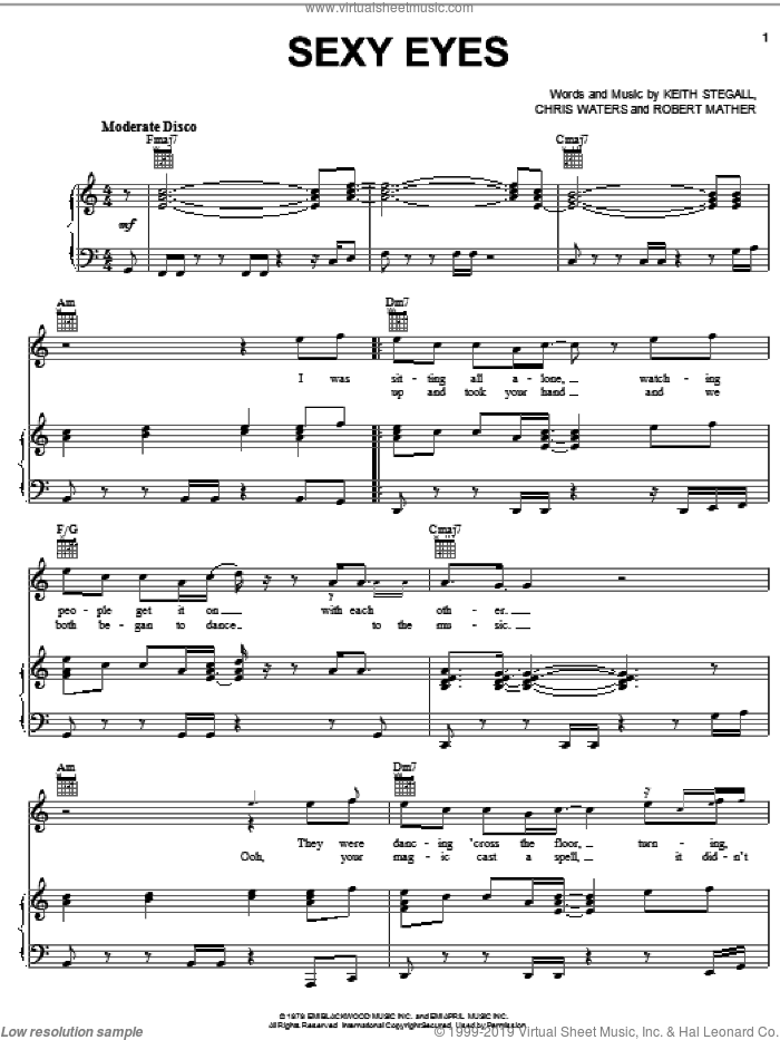 Sexy Eyes sheet music for voice, piano or guitar by Dr. Hook, Chris Waters, Keith Stegall and Robert Mather, intermediate skill level