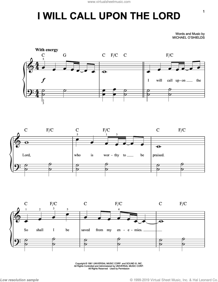 I Will Call Upon The Lord sheet music for piano solo by Michael O'Shields, easy skill level