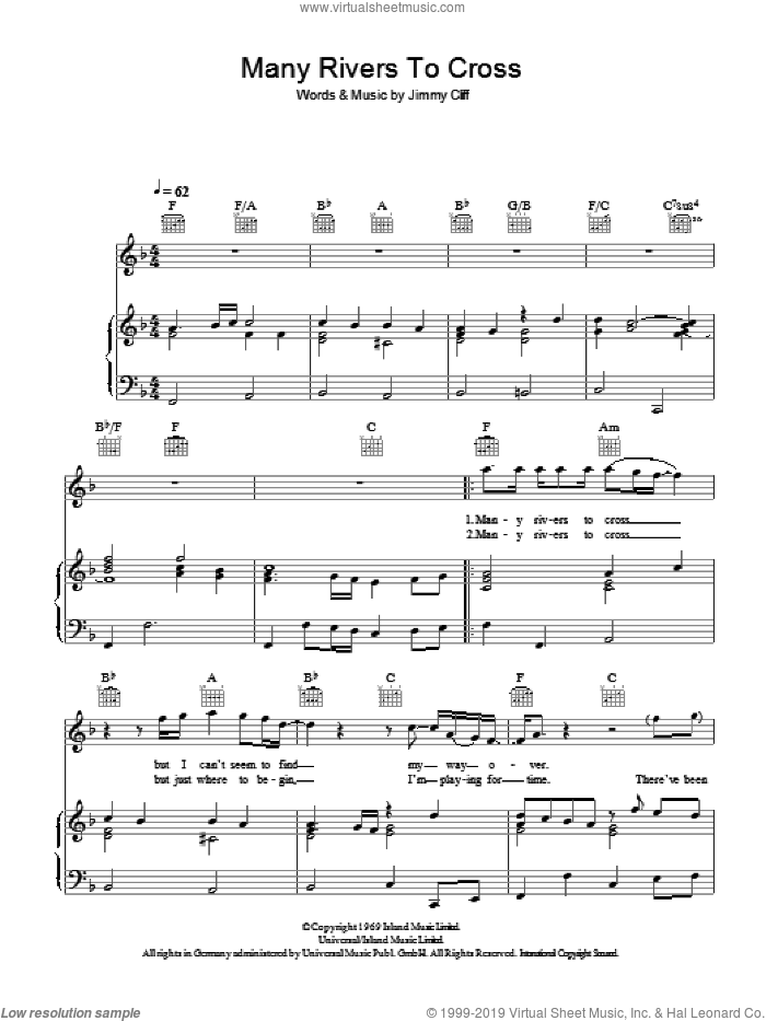 Many Rivers To Cross sheet music for voice, piano or guitar by Jimmy Cliff, intermediate skill level