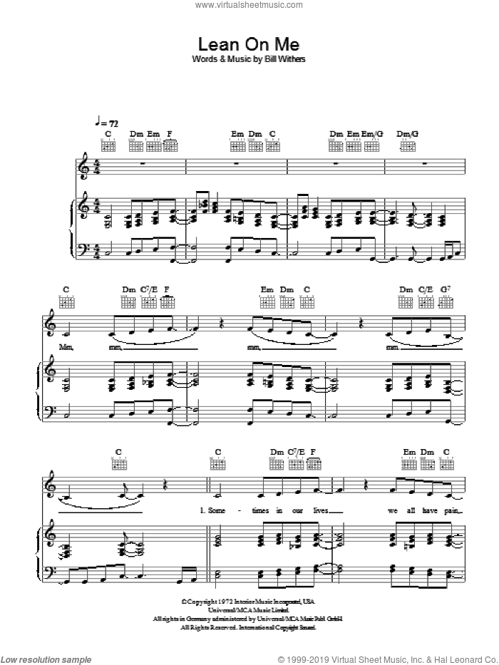 Lean On Me sheet music for voice, piano or guitar by Bill Withers, intermediate skill level