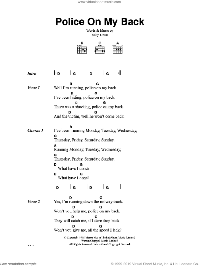 Police On My Back sheet music for guitar (chords) by The Clash and Eddy Grant, intermediate skill level