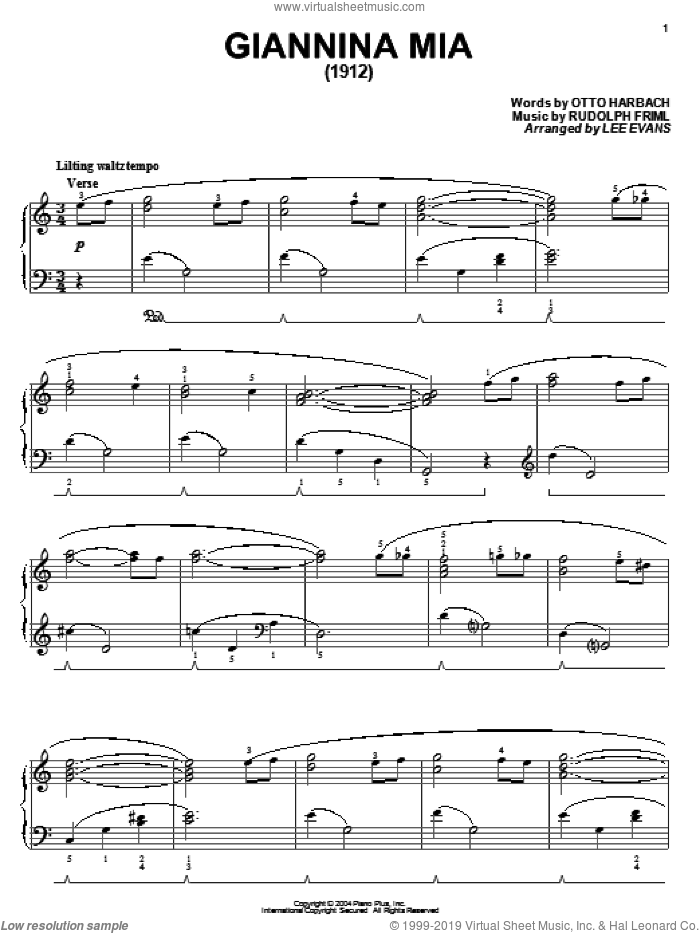 Giannina Mia sheet music for piano solo by Otto Harbach and Rudolf Friml, intermediate skill level