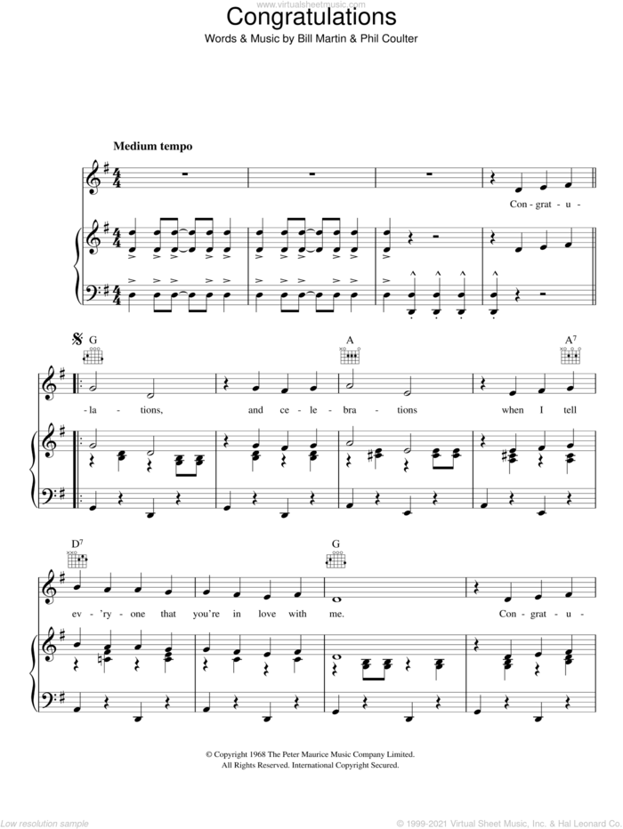 Congratulations sheet music for voice, piano or guitar by Cliff Richard, Bill Martin and Phil Coulter, intermediate skill level
