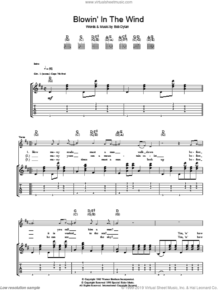 Blowin' In The Wind sheet music for guitar (tablature) by Bob Dylan and Peter, Paul & Mary, intermediate skill level