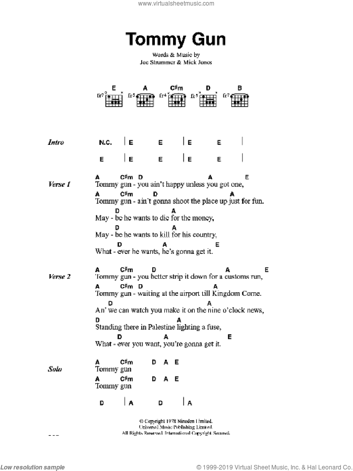 Tommy Gun sheet music for guitar (chords) by The Clash, Joe Strummer and Mick Jones, intermediate skill level