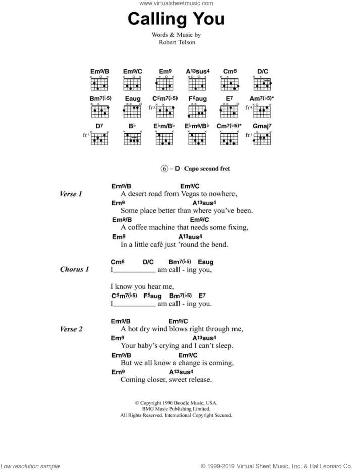Calling You sheet music for guitar (chords) by Jeff Buckley and Robert Telson, intermediate skill level