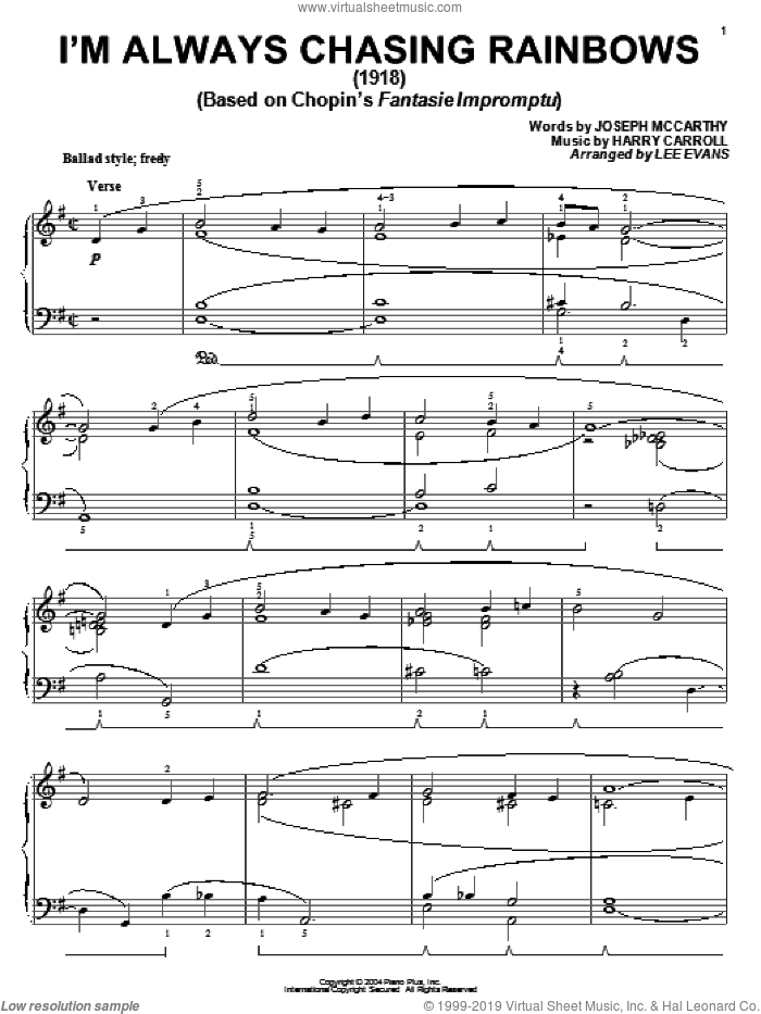I'm Always Chasing Rainbows sheet music for piano solo by Joseph McCarthy and Harry Carroll, intermediate skill level