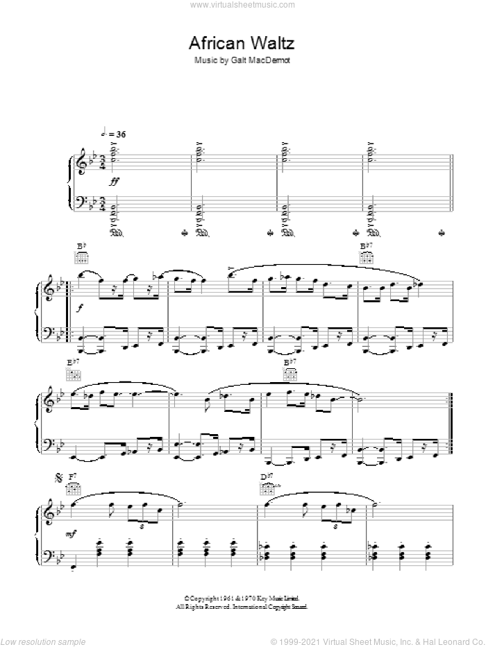 African Waltz sheet music for piano solo by Galt MacDermot, intermediate skill level
