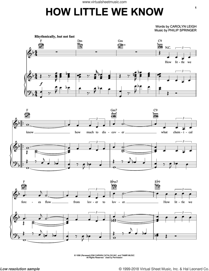 How Little We Know sheet music for voice, piano or guitar by Carolyn Leigh and Philip Springer, intermediate skill level