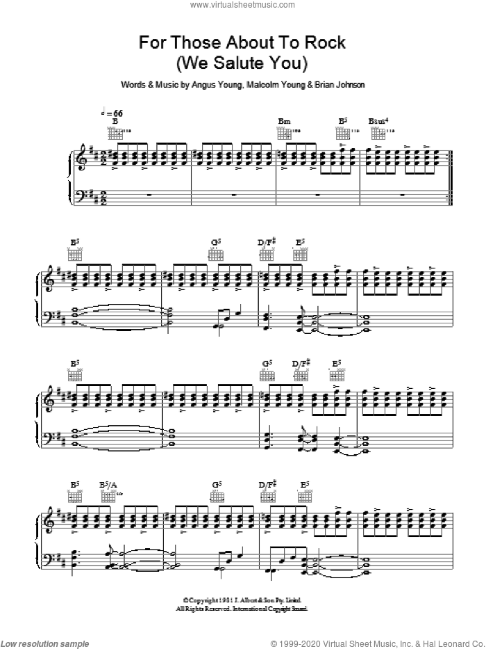 For Those About To Rock (We Salute You) sheet music for voice, piano or guitar by AC/DC, Angus Young, Brian Johnson and Malcolm Young, intermediate skill level