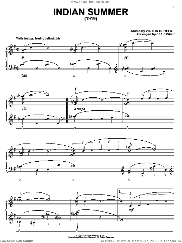 Indian Summer sheet music for piano solo by Glenn Miller, Coleman Hawkins and Victor Herbert, intermediate skill level