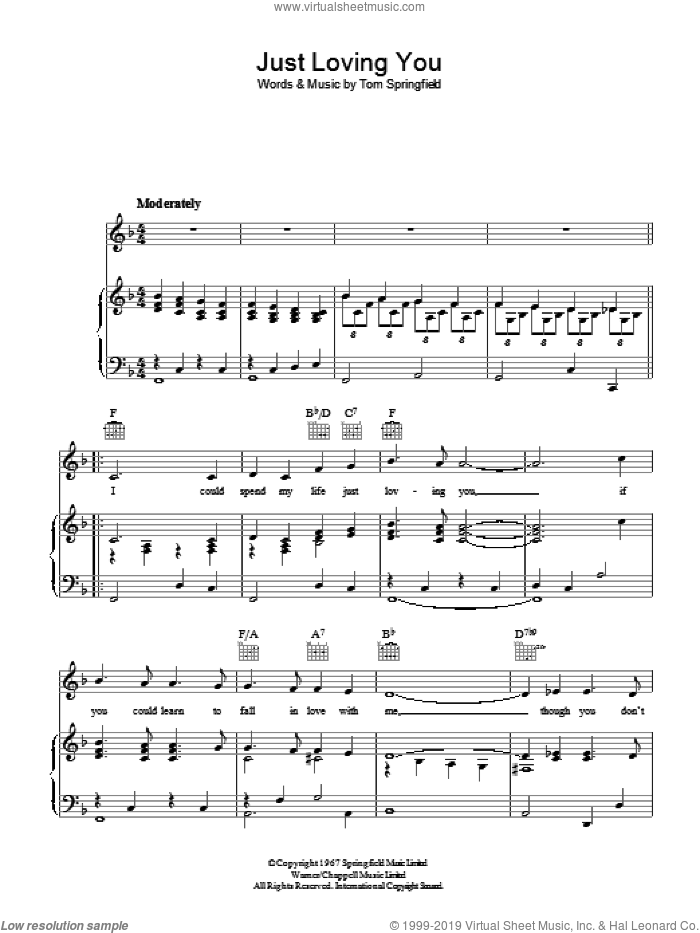 Just Loving You sheet music for voice, piano or guitar by Tom Springfield, intermediate skill level