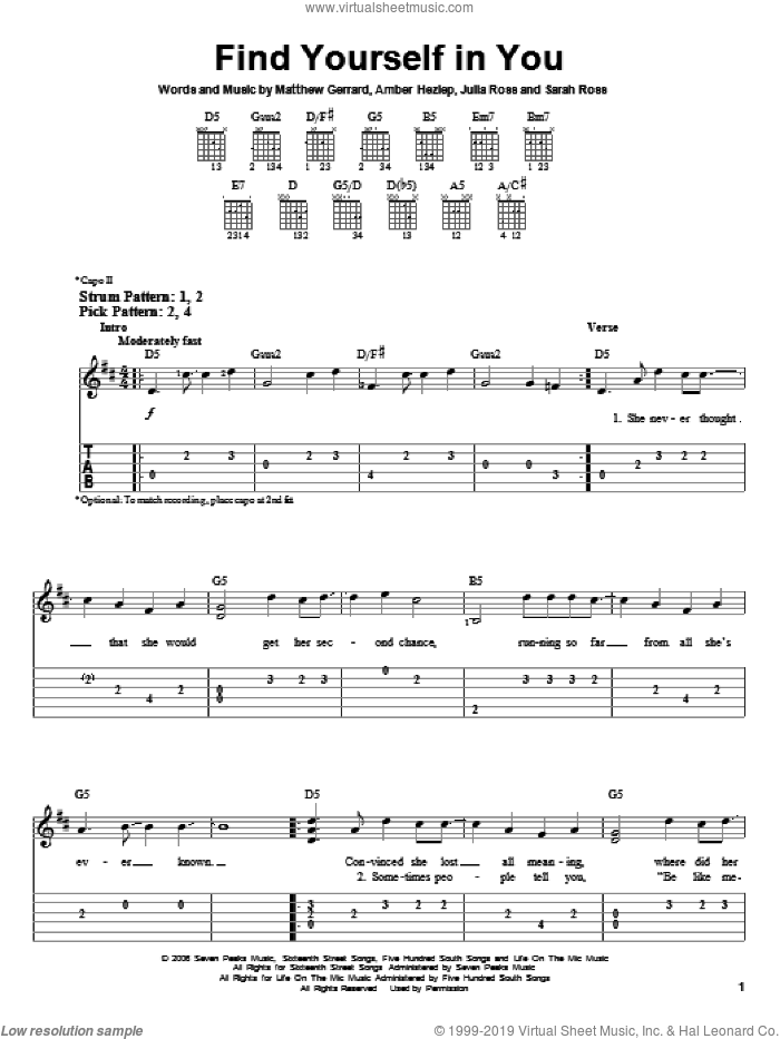 Find Yourself In You sheet music for guitar solo (easy tablature) by Everlife, Hannah Montana, Amber Hezlep, Julia Ross, Matthew Gerrard and Sarah Ross, easy guitar (easy tablature)