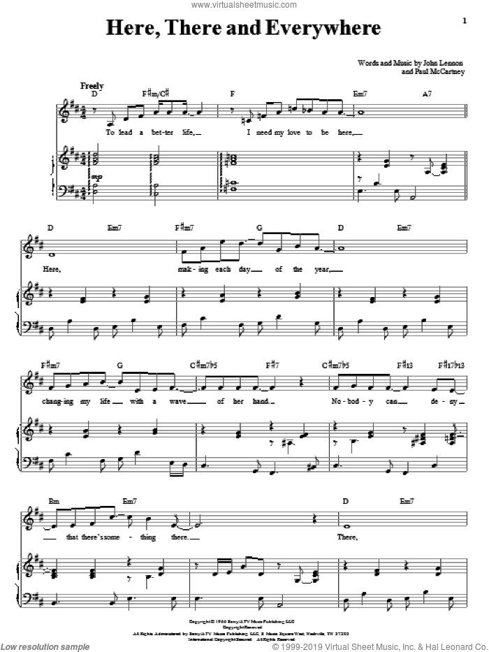Here, There And Everywhere sheet music for voice and piano by The Beatles, John Lennon and Paul McCartney, wedding score, intermediate skill level