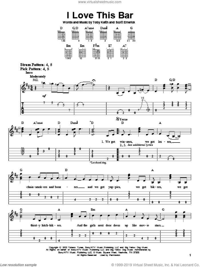 I Love This Bar sheet music for guitar solo (easy tablature) by Toby Keith and Scotty Emerick, easy guitar (easy tablature)
