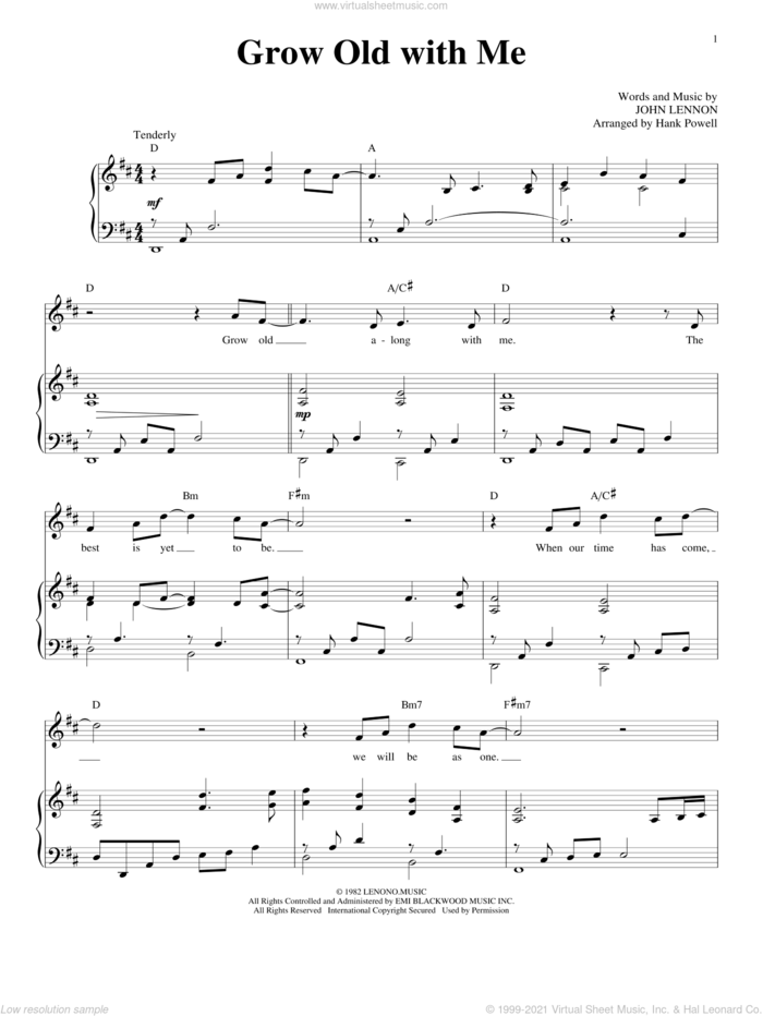 Grow Old With Me sheet music for voice and piano by John Lennon and Mary Chapin Carpenter, wedding score, intermediate skill level