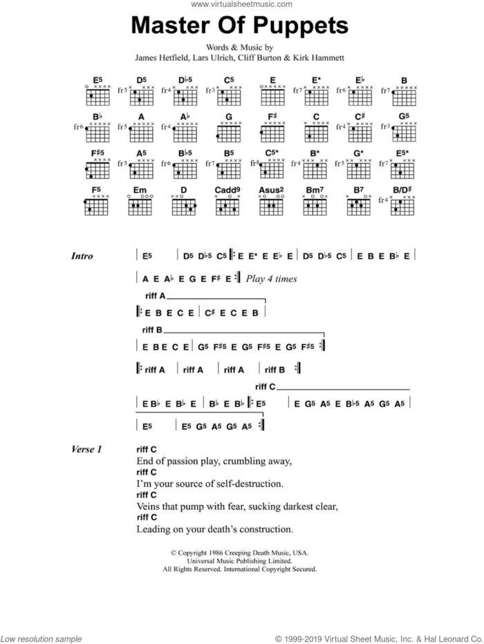 Master Of Puppets sheet music for guitar (chords) by Metallica, Cliff Burton, James Hetfield, Kirk Hammett and Lars Ulrich, intermediate skill level