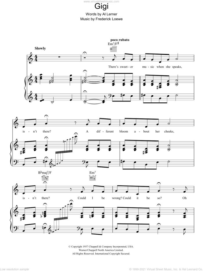 Gigi sheet music for voice, piano or guitar by Lerner & Loewe, Gigi (Musical), Alan Jay Lerner and Frederick Loewe, intermediate skill level