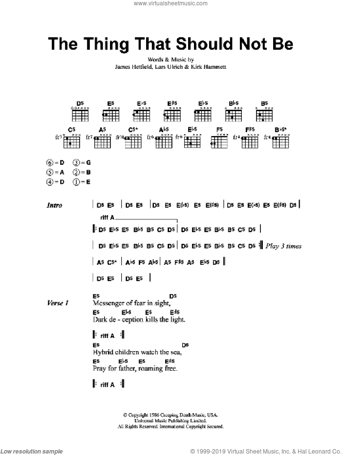 The Thing That Should Not Be sheet music for guitar (chords) by Metallica, James Hetfield, Kirk Hammett and Lars Ulrich, intermediate skill level