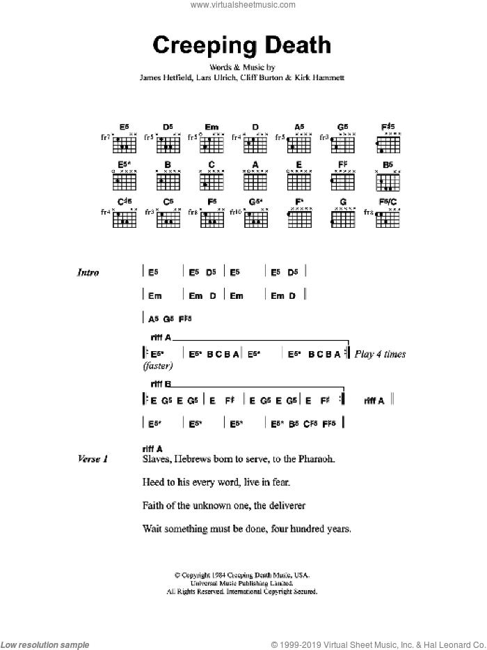 Creeping Death sheet music for guitar (chords) by Metallica, Cliff Burton, James Hetfield, Kirk Hammett and Lars Ulrich, intermediate skill level