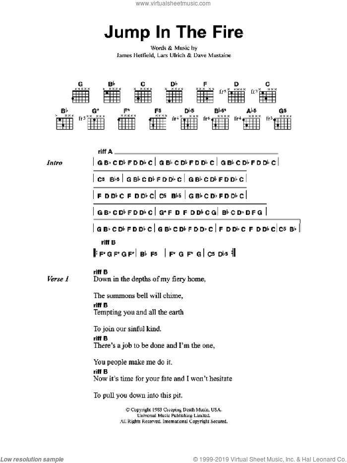 Jump In The Fire sheet music for guitar (chords) by Metallica, Dave Mustaine, James Hetfield and Lars Ulrich, intermediate skill level