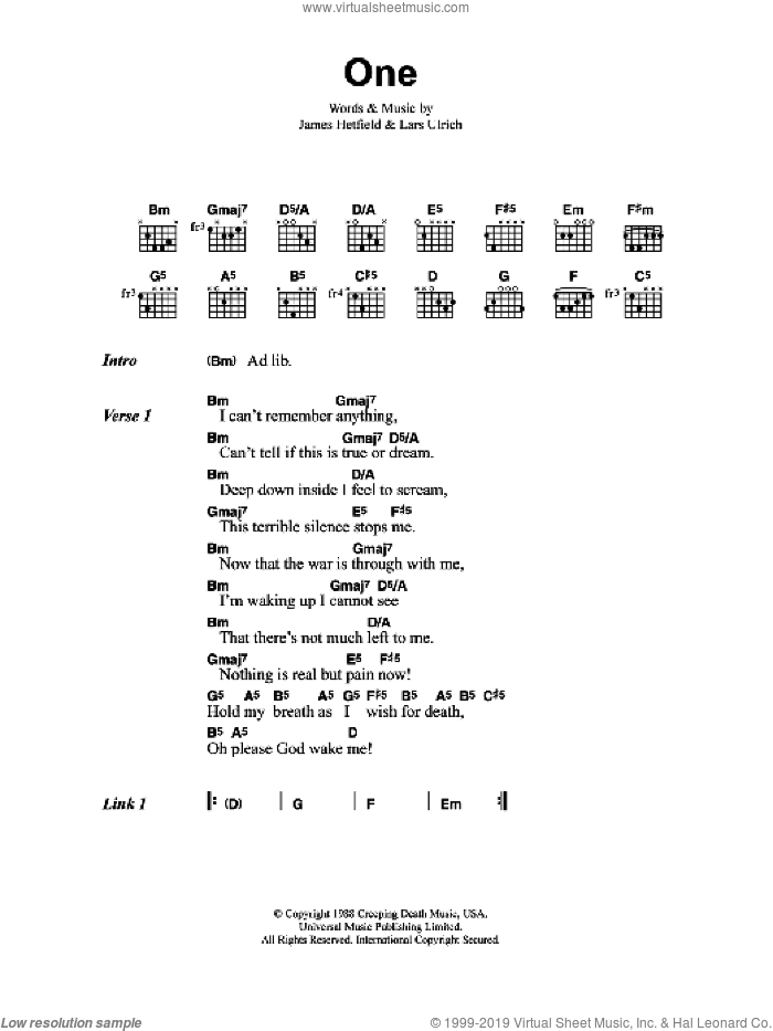 One sheet music for guitar (chords) by Metallica, James Hetfield and Lars Ulrich, intermediate skill level