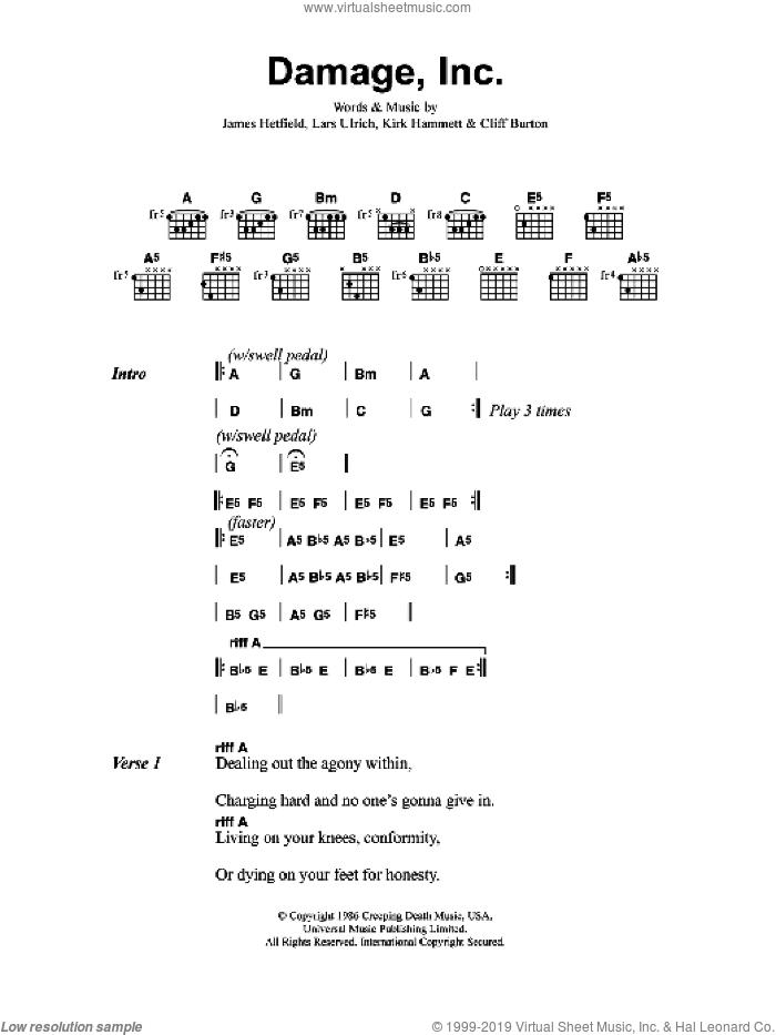 Damage, Inc sheet music for guitar (chords) by Metallica, Cliff Burton, James Hetfield, Kirk Hammett and Lars Ulrich, intermediate skill level