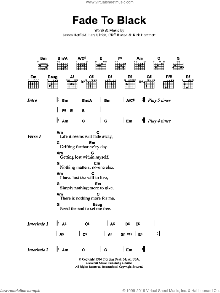 Fade To Black sheet music for guitar (chords) by Metallica, Cliff Burton, James Hetfield, Kirk Hammett and Lars Ulrich, intermediate skill level