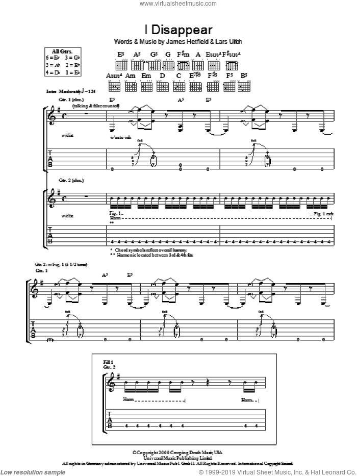 I Disappear sheet music for guitar (tablature) by Metallica, James Hetfield and Lars Ulrich, intermediate skill level