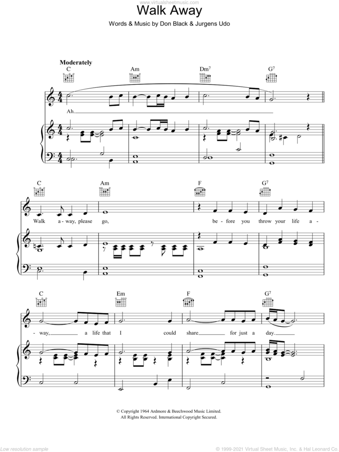 Walk Away sheet music for voice, piano or guitar by Udo Jurgens and Don Black, intermediate skill level