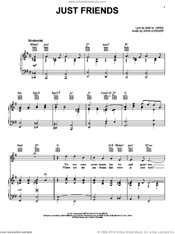 Just Friends sheet music for voice, piano or guitar by Frank Sinatra, John Klenner and Sam Lewis, intermediate skill level