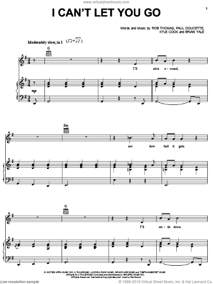 I Can't Let You Go sheet music for voice, piano or guitar by Matchbox Twenty, Matchbox 20, Brian Yale, Kyle Cook, Paul Doucette and Rob Thomas, intermediate skill level