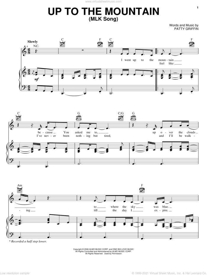 Up To The Mountain (MLK Song) sheet music for voice, piano or guitar by Patty Griffin, intermediate skill level