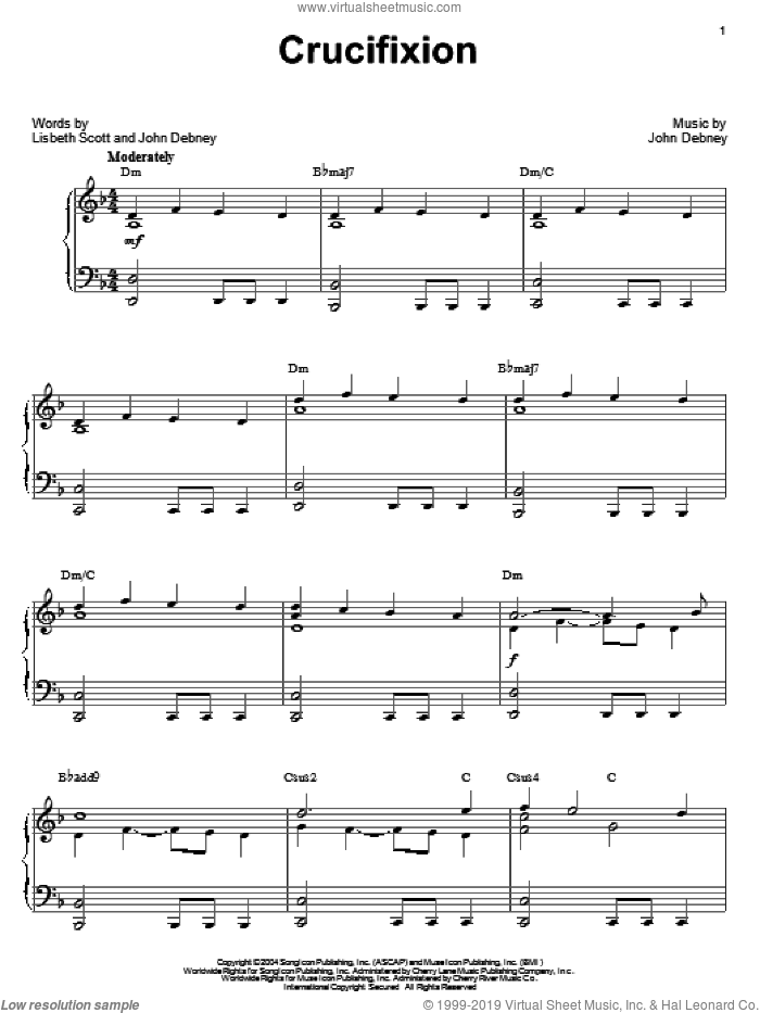 Crucifixion sheet music for piano solo by John Debney, The Passion Of The Christ (Movie) and Lisbeth Scott, intermediate skill level