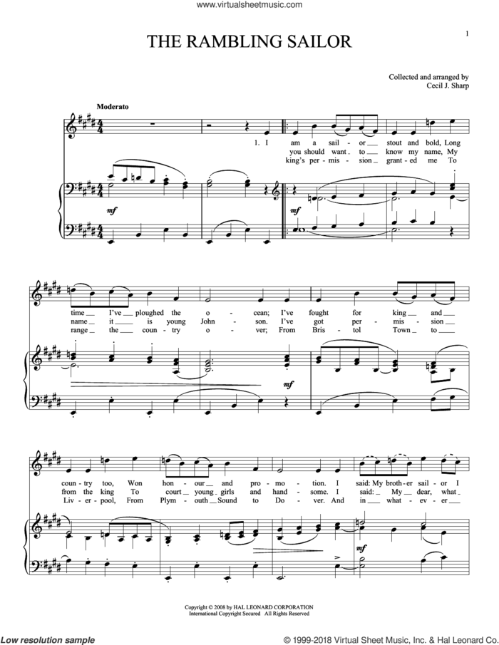 The Rambling Sailor sheet music for voice and piano by Joan Frey Boytim and Miscellaneous, intermediate skill level