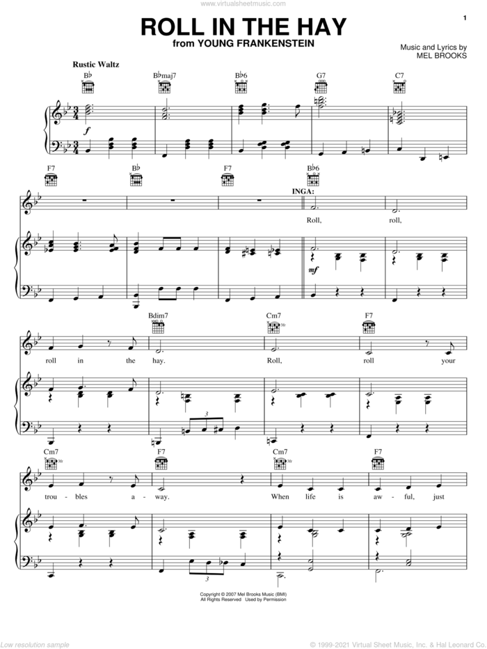Roll In The Hay sheet music for voice, piano or guitar by Mel Brooks, Young Frankenstein (Musical) and Thomas Meehan, intermediate skill level